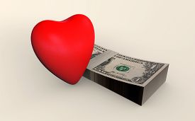 Love And Money Co-existing 3d Rendered Isolated On White
