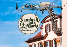 Bad Mergentheim, Germany - September 24, 2014: Old Sign On Market Shop In Bad Mergentheim, Bavaria,
