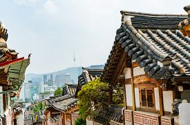 Korean Traditional Style Architecture In Bukchon Hanok Village In Seoul, South Korea