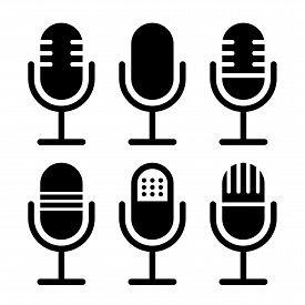 Microphone Vector Icon Set Isolated On White Background. Podcast Icon Vector. Voice Vector Icon, Rec