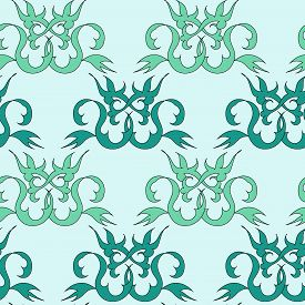 Seamless Abstract Background In Green Tones. For Packaging Design, Wallpaper, Fabric. Trendy Abstrac
