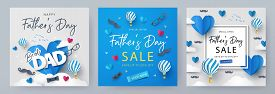 Set Of Fathers Day Greeting Cards In Modern Paper Cut Style. Fathers Day Holiday Illustration For Gr