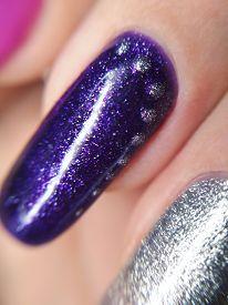 Woman Hand Finger Violet Purple Silver Metallic Glitter Manicure Gel Nail Polish Swatch Design Beaut