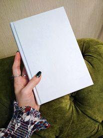 Mockup Empty Notebook Book In Women Manicure Hand Background Photo