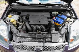Novosibirsk/ Russia - May 02 2020: Ford Fiesta, Close Up Detail Of  Car Engine, Front View. Internal