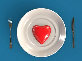 Healthy Eating Or Valentine Dinner Romantic Love Connection While Eating 3d Rendered Concept 3d Rend