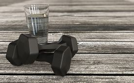 Healthy Lifestyle 3d Rendered Concept With Glass Of Water And Training Kit Dumpbels 3d Rendering