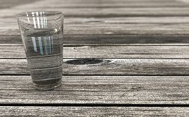 Glass Of Water On A Wooden Table Perspective Background 3d Rendered Concept For Hydration And Health