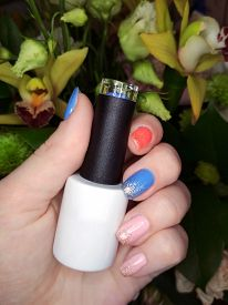 Woman Hand Finger Manicure Gel Nail Polish Swatch Design Bottle Beauty Photo