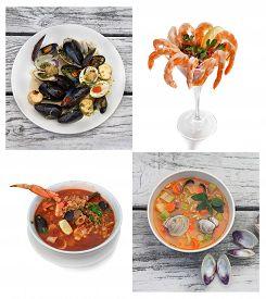 Seafood Collage. Includes  Bruschetta, Shrimp Cocktail, Cioppino Stew, Manhattan Clam Chowder