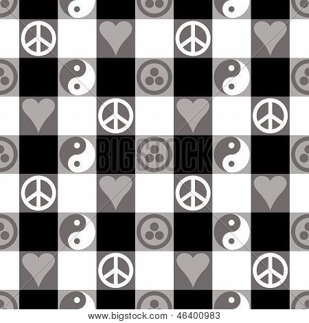 Peace Plaid in Black