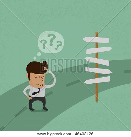 Businessman do not know where to go  vector format