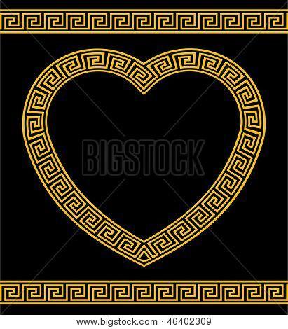 Greek Key Pattern Heart Shape Frame