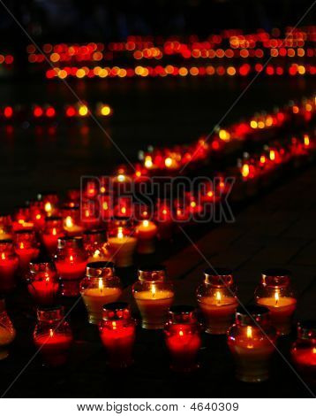 Beautiful Row Of Red Funeral Candles