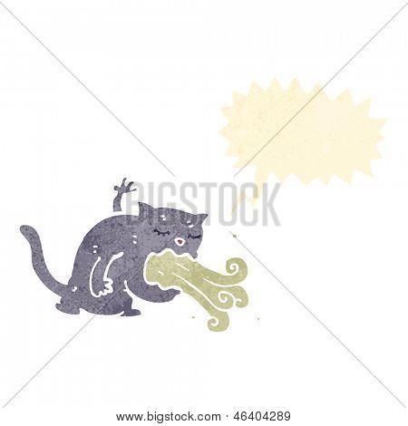 cartoon cat being sick poster