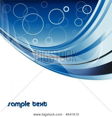 abstract vector modern backdrop with wavy lines in blue color poster