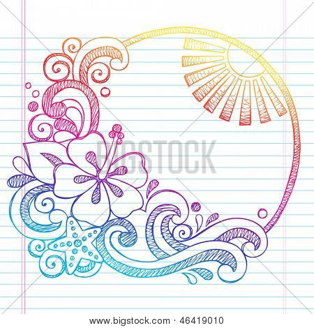 Hibiscus Flower Tropical Beach Summer Vacation Sketchy Notebook Doodles- Hand Drawn  Illustration on Lined Sketchbook Paper Background