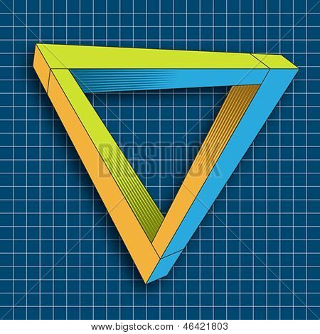 An impossible object (Penrose triangle). Vector format EPS 10, CMYK.