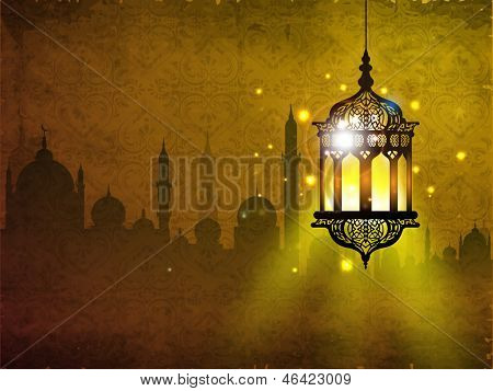 Hanging iIlluminated intricate Arabic Lamp with on shiny abstract night background for Ramadan Kareem.