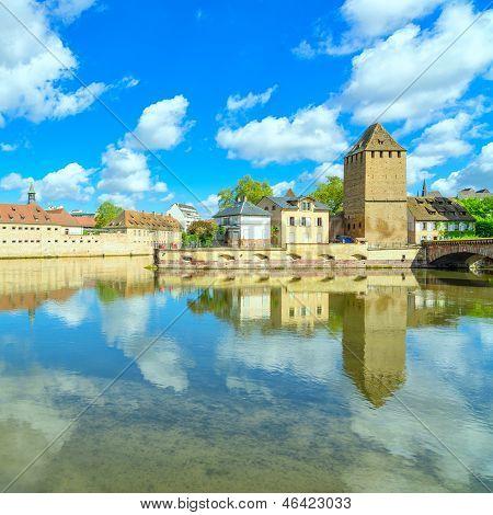 Strasbourg tower of medieval bridge Ponts Couverts and reflection Barrage Vauban. Alsace France. poster