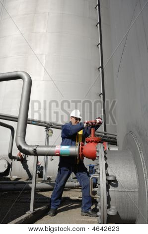 Engineer Turning Pipeline Pump