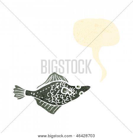 retro cartoon flatfish with speech bubble
