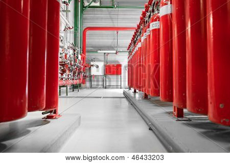 Large Co2 Fire Extinguishers In A Power Plant