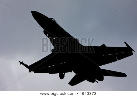 F-18 Hornet airplane silhouette with gear extended for landing poster