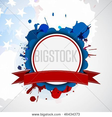 4th of July, American Independence Day background with blank circle frame for your message on grungy flag colors background. poster