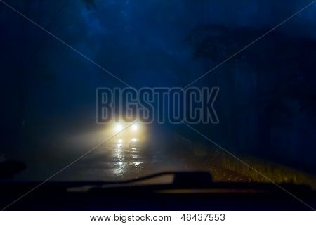 Car in the fog