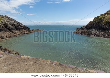 St Brides bay from Porthclais port Pembrokeshire West Wales