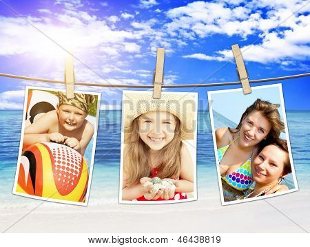 Photos Of Holiday People Hanging On Clothesline On Beach