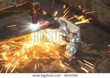 Blow Torch Cutting Through Metal