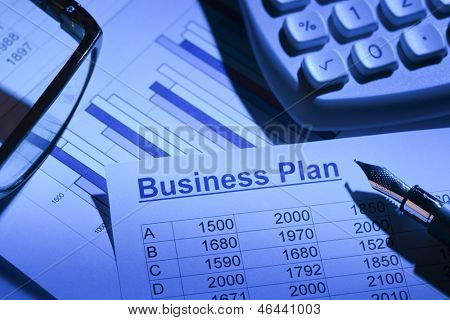 the business plan for a company or business establishment. planning of a young entrepreneur.