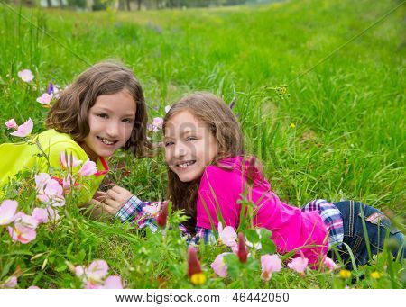 happy twin sister girls playing lying on spring flowers meadow