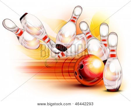A red bowling ball crashing into the pins