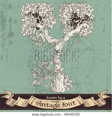 Magic Grunge Forest Hand Drawn By A Vintage Font - Y