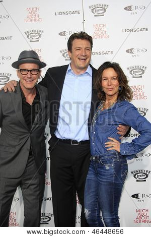 LOS ANGELES - JUN 5: Clark Gregg, Nathan Fillion and Jennifer Grey at the screening of Lionsgate and Roadside Attractions' 'Much Ado About Nothing' on June 5, 2013 in Los Angeles, California