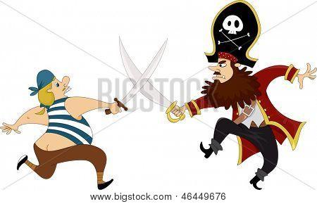 Illustration of Male Pirates having a Swordfight