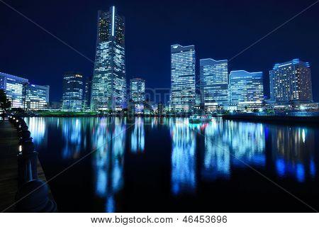 Yokohama, Japan cityscape at Minato-mirai. poster