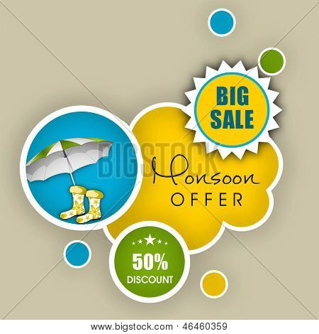 Monsoon offer and sale banner, flyer or poster. poster