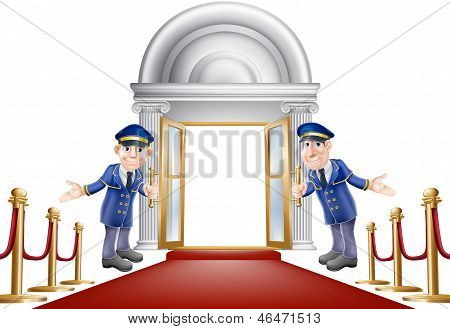 An illustration of a red carpet entrance with velvet ropes and two doormen welcoming the viewer in poster