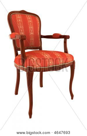Red Classic Armchair Isolated On White Background