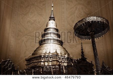 Vintage - Chedi Which Is A Major Place Of Worship, Phra That Hariphunchai In Lamphun Thailand