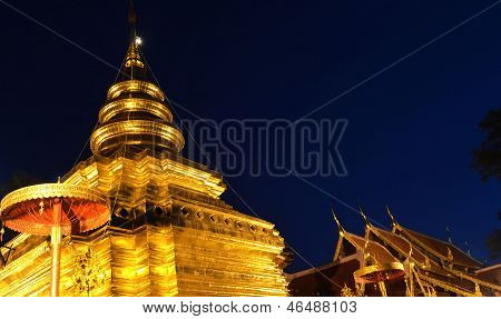 Phra That Sri Jom Thong  Before Sunrise, Series 1_1, Golden Pagoda On Spot Light, Chiang Mai