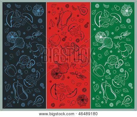 three vector patterns - vegetables