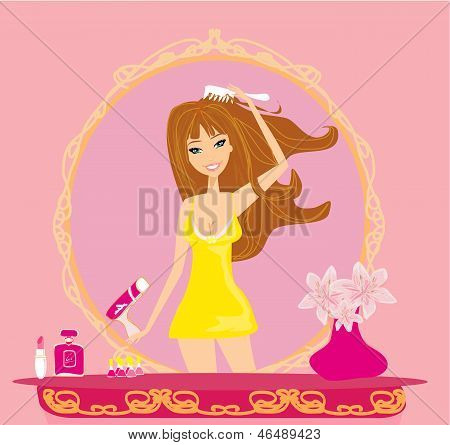 Beautiful Woman Drying Her Hair By Dryer