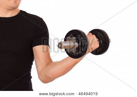 Man Exercise With A Dumbbell