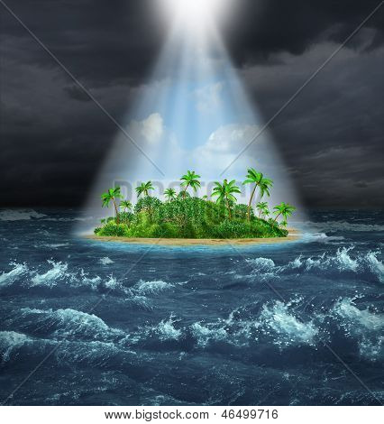 Hope and aspirations success concept with a dark storm ocean background contrasted with a glowing light from above shinning down on a beautiful tropical island as an oasis vision of the promised land. poster