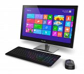 Modern office business desktop computer PC system monitor with touchscreen interface with color icons keyboard and mouse isolated on white background poster